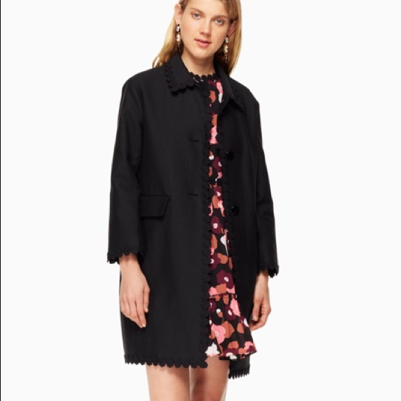 KATE SPADE Black Floral Lace Trim Checking In Coat